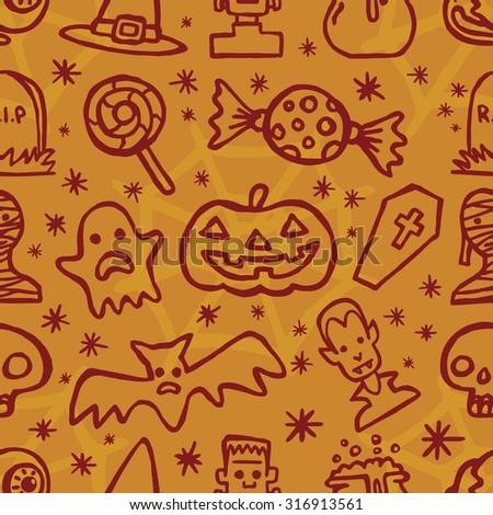 Happy Halloween day seamless pattern Icon Set vector on orange background - stock vector