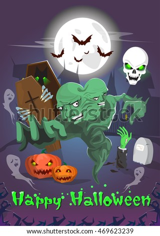 Happy Halloween Dead Monsters Party Invitation Card Flat Vector Illustration
