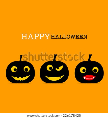 Happy Halloween design background with Halloween pumpkin. Vector illustration. - stock vector