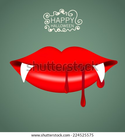 Happy Halloween design background with vampire mouth. Vector illustration. - stock vector