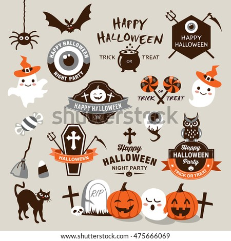 happy halloween design elements halloween design elements logos badges labels icons - Halloween Design