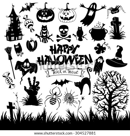 Happy Halloween designs set with various elements of holiday isolated on white background. Vector illustration. - stock vector