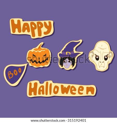 happy halloween elements vector set with witch, vampire and pumpkin - stock vector