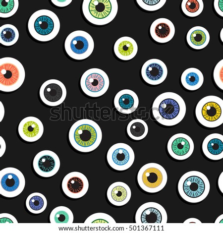 Happy Halloween. Eyeballs human. Seamless pattern repetitive scattered on a black background. Vector illustration. Concept eyes Halloween night.