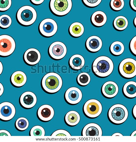 Happy Halloween. Eyeballs. Seamless pattern repetitive scattered on a bright background. Vector illustration. Concept eyes Halloween decor for children.