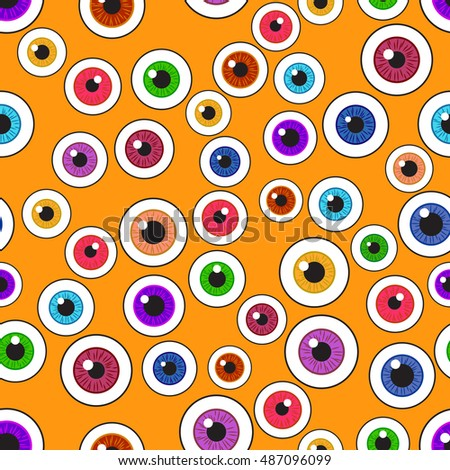 Happy Halloween. Eyeballs. Seamless pattern repetitive tightly on a orange  background. Vector illustration.