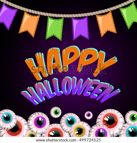 Happy Halloween for invitation cards and posters. Party Card. vector illustration.
