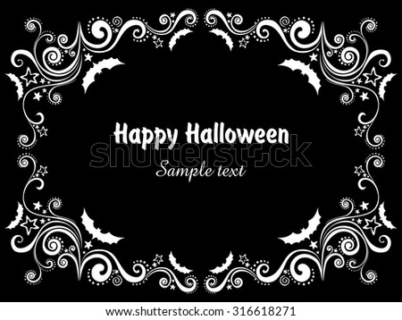 Happy Halloween! Frame isolated on black background. Celebration background with bat and place for your text. Vector illustration  - stock vector