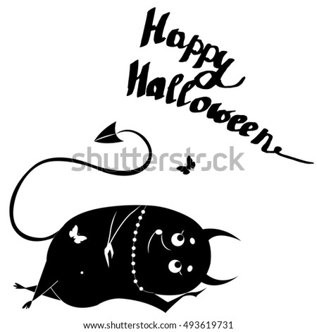Happy Halloween, freehand lettering, lazy demon isolated on white