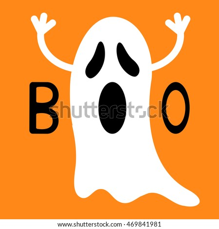 Genial Happy Halloween. Funny Flying Ghost With Hands. Boo Text. Greeting Card.  Cute