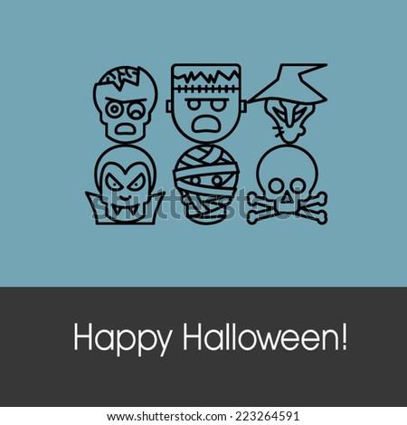 Happy Halloween Funny Greeting Card - stock vector