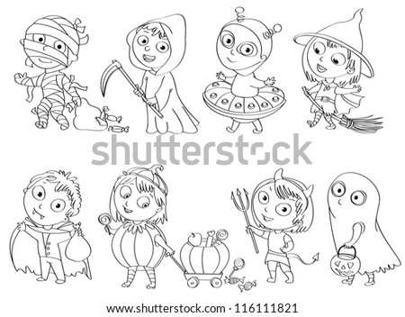 Happy Halloween. Funny little children in colorful costumes. Dracula, Grim Reaper, Devil,  mummy, alien, witch, ghost. Coloring book. Vector illustration - stock vector