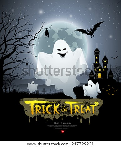 Happy Halloween ghost and message trick or treat design background, vector illustration - stock vector