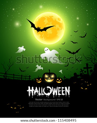Happy Halloween ghost design background, vector illustration - stock vector
