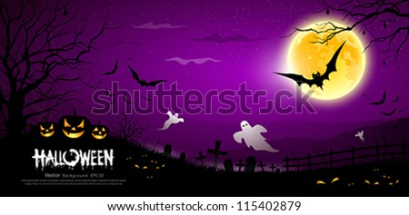 Happy Halloween ghost scary purple background, vector illustration - stock vector