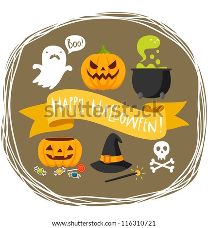 Happy Halloween greeting - stock vector