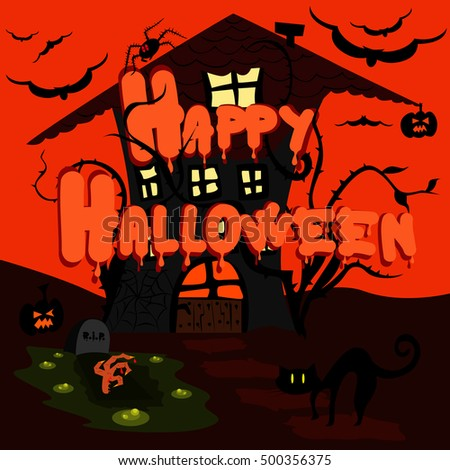 Happy Halloween greeting card.