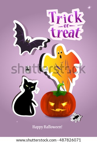 Happy Halloween Greeting Card. Typography Inscription Trick Or Treat. Scary  Holiday Poster.