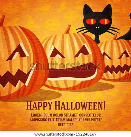 Happy halloween greeting card with black cat and carved pumpkins fading to the perspective. On the bright halloween background with bats, witches, hats, spiders, pumpkins. - stock vector