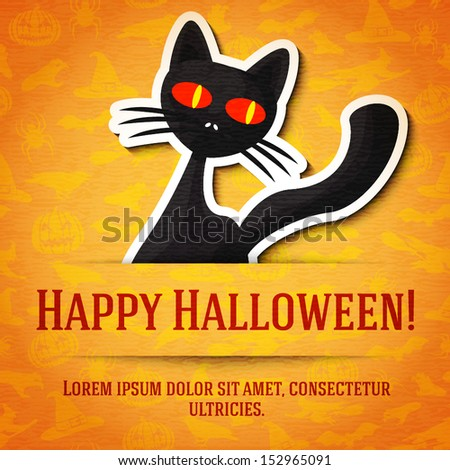Happy halloween greeting card with black cat sticker cut from the paper and placed between ribbon and background. On the bright halloween texture with bats, witches, hats, spiders, pumpkins.  - stock vector