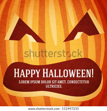 Happy halloween greeting card with carved pumpkin. With happy halloween and place for your text. - stock vector