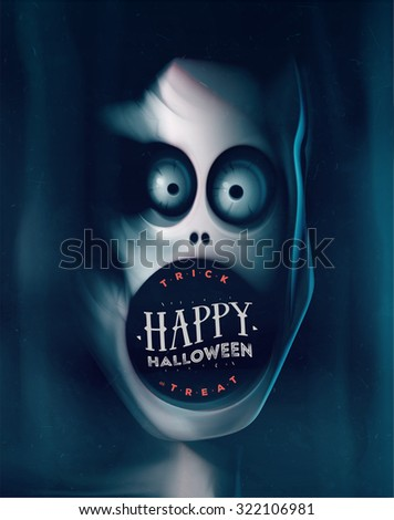Happy Halloween, greeting card with monster, eps 10 - stock vector
