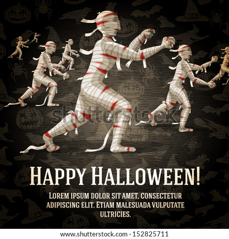 Happy halloween greeting card with walking mummies fading to the perspective. On the dark halloween background with bats, witches, hats, spiders, pumpkins.  - stock vector