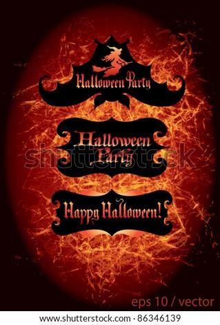 Happy Halloween / Halloween Party / text / vector - stock vector