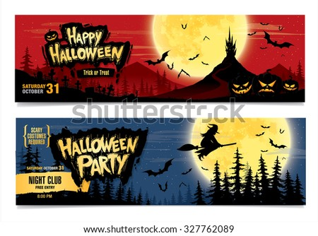 Happy Halloween. Halloween party. Two vector banners. Color illustration - stock vector