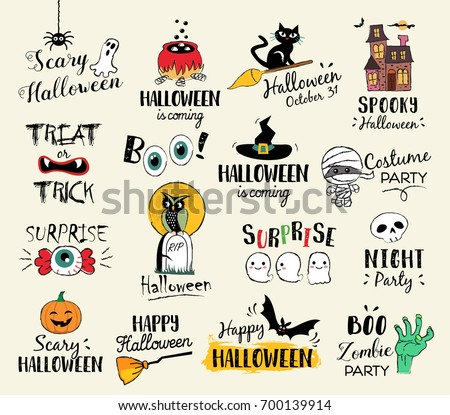Happy Halloween Hand Drawn Illustrations Elements Stock ...
