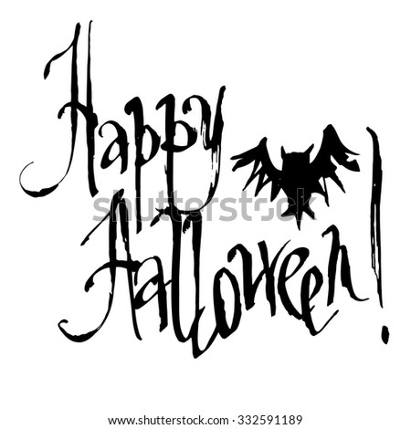Happy Halloween Hand drawn  Text Banner on white background