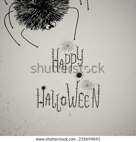 Happy Halloween hand lettering with large fluffy spider. Typographic design  with cobwebs and spiders on the vintage background. - stock vector
