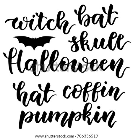 happy halloween handwritten lettering pattern for halloween the phrase in black on a white - Halloween Writing Font