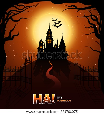 Happy Halloween. Happy autumn. Castle horror on top of the mountain. Gates open to the castle of horrors. The road to the castle among the trees. Vector illustration on Halloween. - stock vector