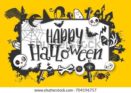 Happy halloween horizontal banner hand lettering stock vector happy halloween horizontal banner with hand lettering greetings and sketch cartoon style horror characters vector m4hsunfo