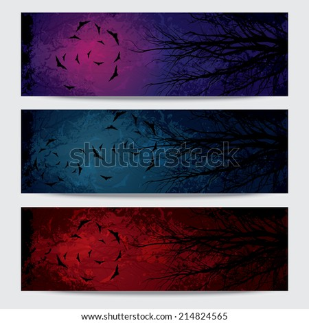 Happy Halloween horizontal banners set design, vector illustration - stock vector