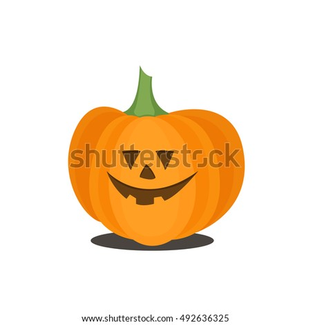 Happy Halloween icon. Flat pumpkin. Colorful vector illustration isolated on white background.