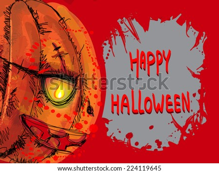 Happy Halloween illustration. Bloody pumpkin jack head  with flame in its eyes. On red blood and grey background. Halloween card in horror movie style. For print, invitation, as poster, wallpaper. - stock vector