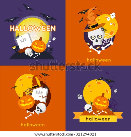 Happy halloween 4 illustrations. Halloween party. Poster, banner. Flat design vector illustration.
