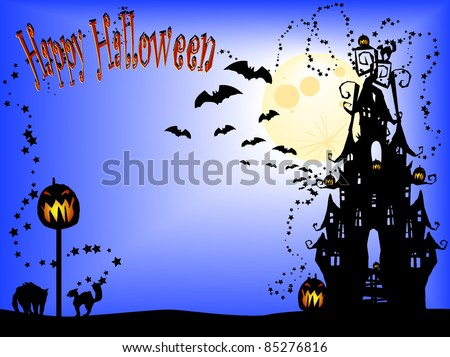 Happy Halloween invite, flyer, background with 2 different extra spooky cats and the moon - stock vector