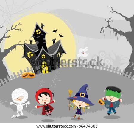 Happy Halloween Kids - stock vector