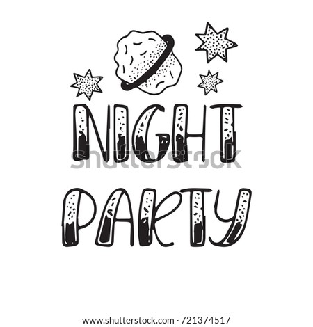 Happy Halloween Lettering. Night Party. Hand Drawn Vector Calligraphy With  Cartoon Decor. Holiday