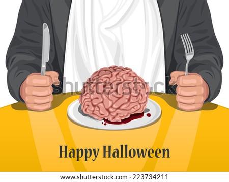Happy Halloween - Man eating brain vector - stock vector