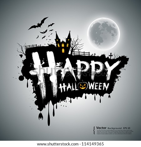 Happy Halloween message design background, vector illustration
