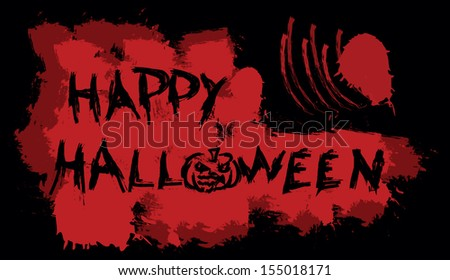 Happy Halloween message on bloody background, vector