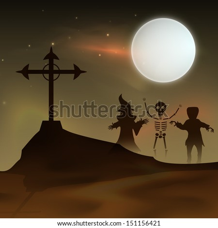 Happy Halloween moonlight night background with witch and ghost silhouette and grave.