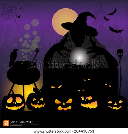 Happy Halloween night background with pumpkin and full moon  Vector illustration. Witch with Crystal Ball in Halloween at night  party