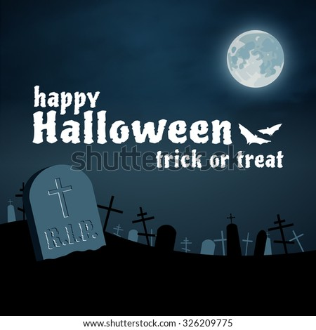 Happy Halloween night cemetery vector background, moon and tomb - stock vector