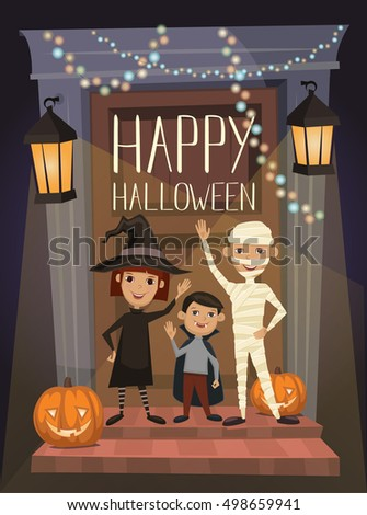happy halloween night party banner with funny kids in carnival costumes mummy vampire and witch - Halloween Night Party