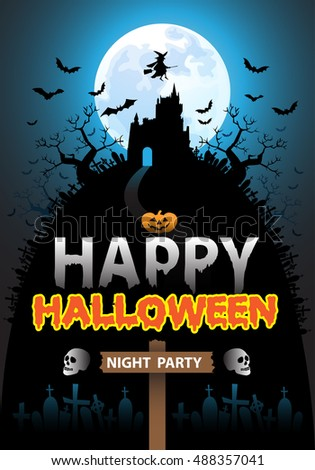 Happy Halloween night party holiday design vector illustration.